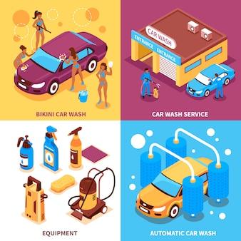 Concepto de diseño isométrico de lavado de coches