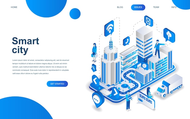 Concepto de diseño isométrico moderno de smart city.