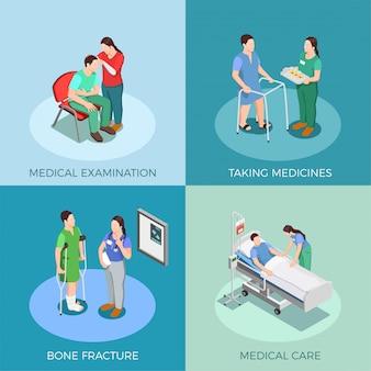Concepto de diseño isométrico paciente médico