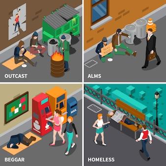 Concepto de diseño isométrico de personas sin hogar
