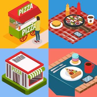 Concepto de diseño isométrico pizzería