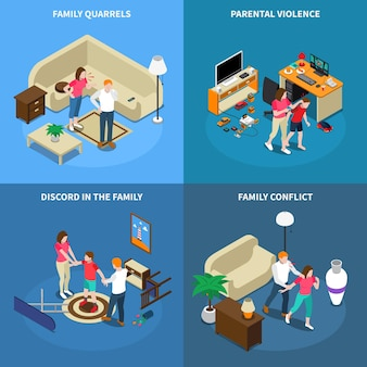 Concepto de diseño isométrico de problemas familiares con peleas, violencia de los padres, desacuerdo, conflicto, aislado