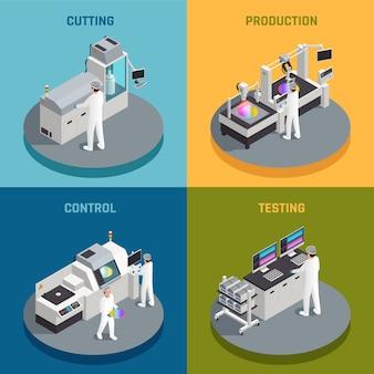 Concepto de diseño isométrico de producción de chips semiconductores con imágenes que representan diferentes etapas de la fabricación de chips de silicio ilustración vectorial
