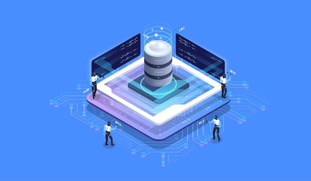 Concepto de diseño isométrico de realidad virtual y realidad aumentada. desarrollo de ra y rv. tecnología de medios digitales para sitios web y aplicaciones móviles.
