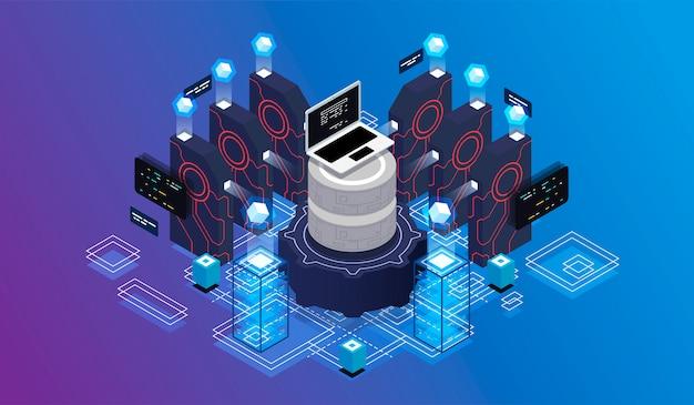 Concepto de diseño isométrico de realidad virtual y realidad aumentada.