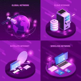 Concepto de diseño isométrico de red global con enrutador de internet satelital de almacenamiento en la nube y conexión inalámbrica aislada