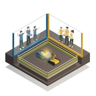 Concepto de diseño isométrico de robots controlados