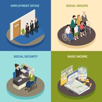 Concepto de diseño isométrico de la seguridad social