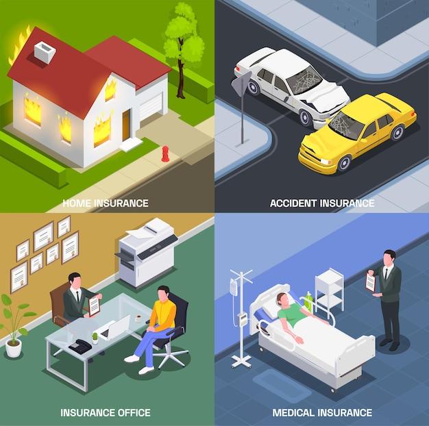 Concepto de diseño isométrico de seguros con un conjunto de composiciones cuadradas con la oficina de agentes del hospital y accidentes repentinos