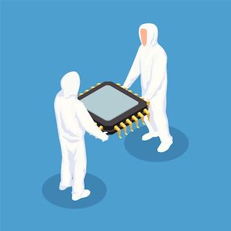 Concepto de diseño isométrico de semiconductores.