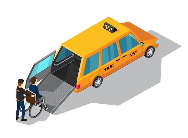 Concepto de diseño isométrico del servicio de taxi con un taxi amarillo diseñado para el transporte de personas
