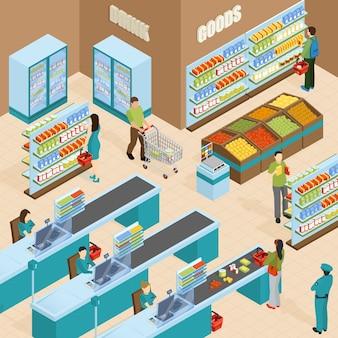 Concepto de diseño isométrico de supermercado