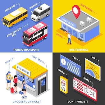 Concepto de diseño isométrico terminal de autobuses