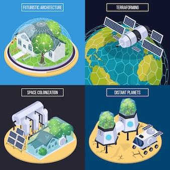 Concepto de diseño isométrico de terraformación