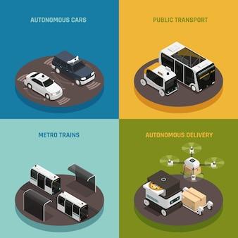Concepto de diseño isométrico de vehículos autónomos
