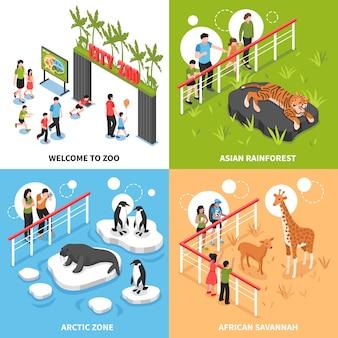 Concepto de diseño isométrico de zoológico 2x2