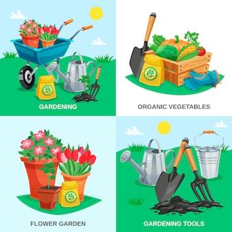 Concepto de diseño de jardín 2x2