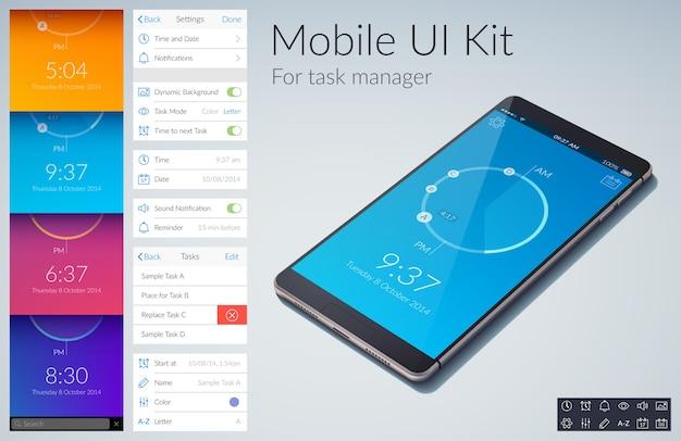 Concepto de diseño de kit de interfaz de usuario móvil para la gestión de tareas con ilustración plana de colores
