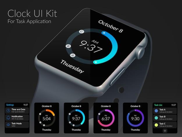 Concepto de diseño de kit de interfaz de usuario de reloj móvil para ilustración plana de aplicación de tareas