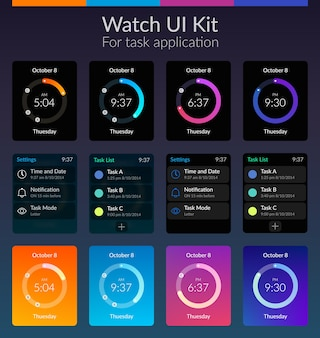Concepto de diseño de kit de interfaz de usuario de reloj móvil con ilustración plana de colores