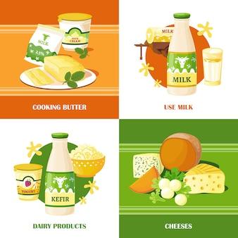 Concepto de diseño de leche y queso 2x2