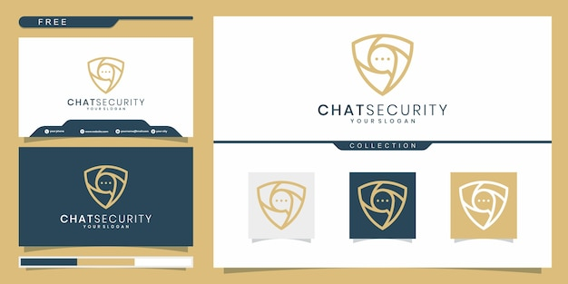 Concepto de diseño de logo de chat de escudo. diseño de logotipo y tarjeta de visita