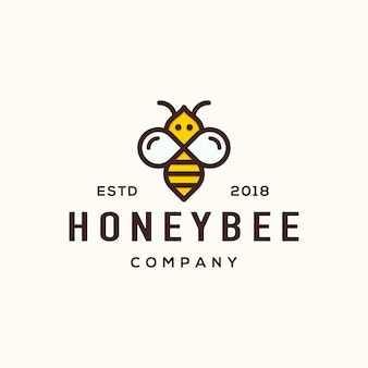 Concepto de diseño de logotipo de abeja.