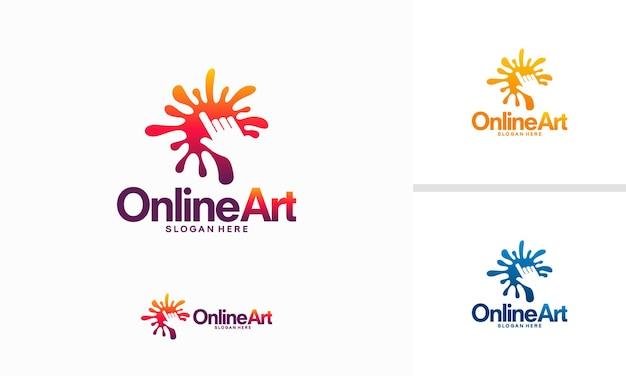 Concepto de diseño de logotipo de arte en línea, plantilla de logotipo de creación en línea, símbolo del logotipo del cursor de color, símbolo del logotipo del cursor de pintura