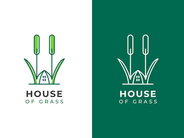 Concepto de diseño de logotipo de casa de hierba
