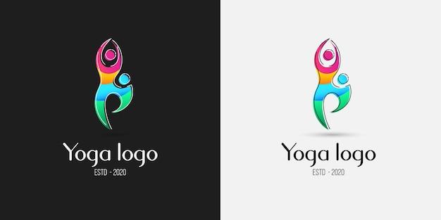 Concepto de diseño de logotipo colorido de pose de yoga