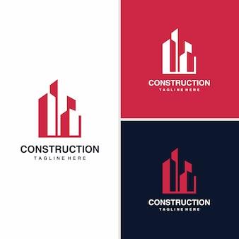Concepto de diseño de logotipo de construcción, arquitectónico, edificio