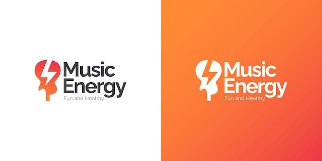 Concepto de diseño de logotipo de energía musical