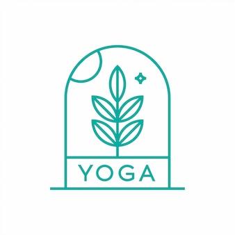 Concepto de diseño de logotipo de naturaleza yoga.