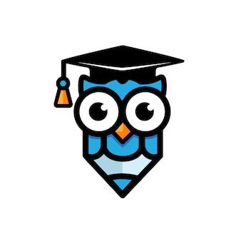 Concepto de diseño de mascota búho y educación