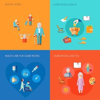 El concepto de diseño mayor de la forma de vida fijó con la ilustración aislada aislada del vector de los iconos planos del cuidado médico de las personas mayores de la riqueza de las personas mayores