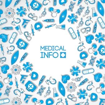 Concepto de diseño de medicina saludable con inscripción e iconos y elementos de papel azul médico en luz