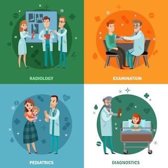 Concepto de diseño de médicos y pacientes