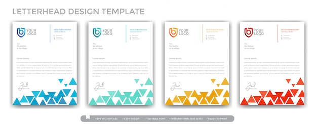 Concepto de diseño de membrete colorido triángulo para empresas y negocios