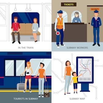 Concepto de diseño de metro con trabajadores y turistas.