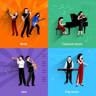 Concepto de diseño de músicos con iconos planos de los reproductores de música clásica de pop rock jazz