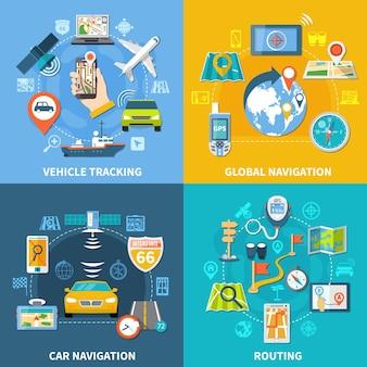 Concepto de diseño de navegación con cuatro composiciones, pictogramas e iconos planos con letreros, satélites gps y gadgets.