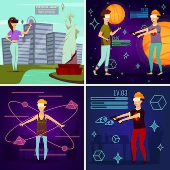 Concepto de diseño ortogonal de realidad virtual