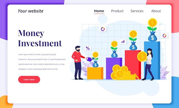 Concepto de diseño de página de destino de inversión, personas que riegan el árbol del dinero, recolectan monedas, aumentan el beneficio de la inversión financiera