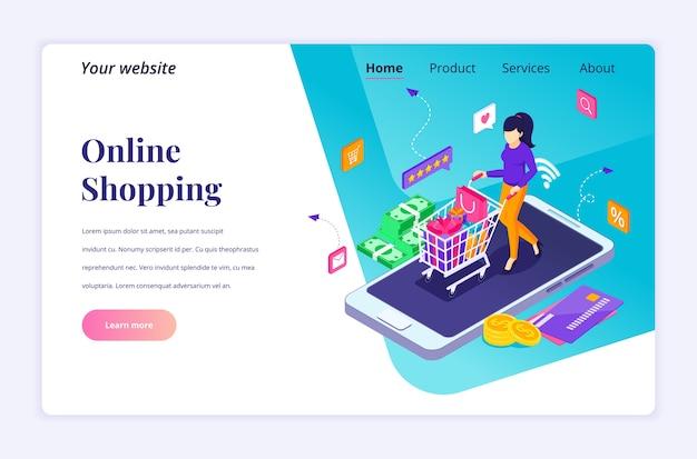 Concepto de diseño de página de destino isométrica de compras en línea. una mujer lleva un carrito de compras en un teléfono inteligente gigante