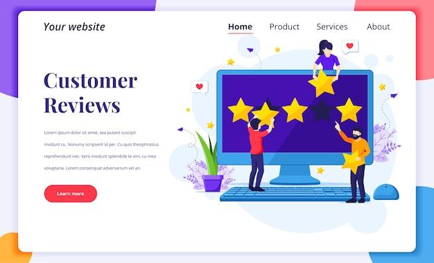 Concepto de diseño de página de destino de opiniones de clientes, personas que dan calificación y revisión de cinco estrellas y comentarios positivos