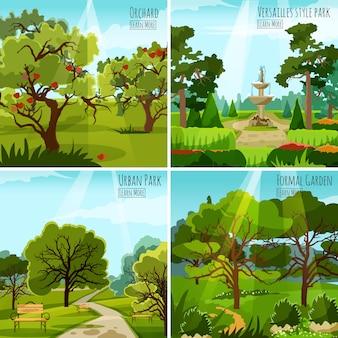 Concepto de diseño de paisaje de jardín