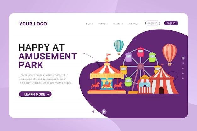 Concepto de diseño de parque de atracciones de plantilla de página de destino