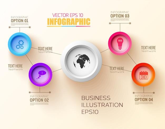 Concepto de diseño de paso de infografía con círculos de colores e iconos de negocios