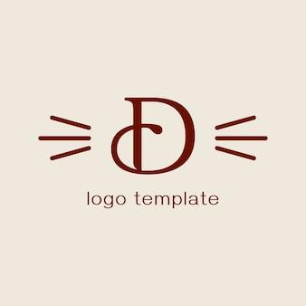 Concepto de diseño para peluquería de mascotas o peluquería. letra d. plantilla de logotipo vectorial. labe de aseo.