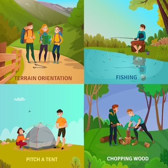 Concepto de diseño de personas de camping